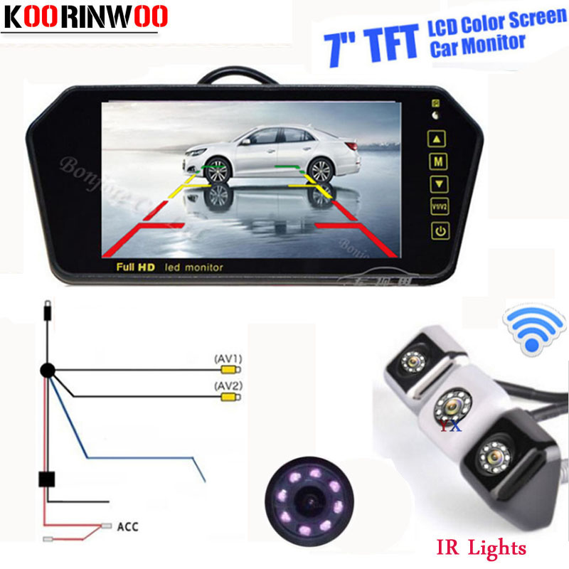 Genuine Koorinwoo Wireless Parking Car Rear view camera 8 Led lights with 7 LCD TFT Car Monitor Video Vehicle 800*480 Screen
