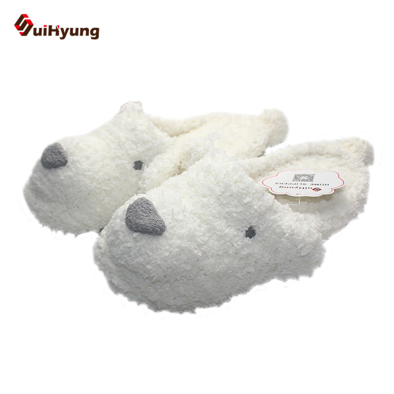 Suihyung Winter Women's Cotton Slippers Cute White Dog Home Indoor Shoes Warm Plush Bedroom Slippers Soft Non-slip Floor Slipper tolaitoe autumn winter animals fox household slippers soft soles floor with indoor slippers plush home slippers