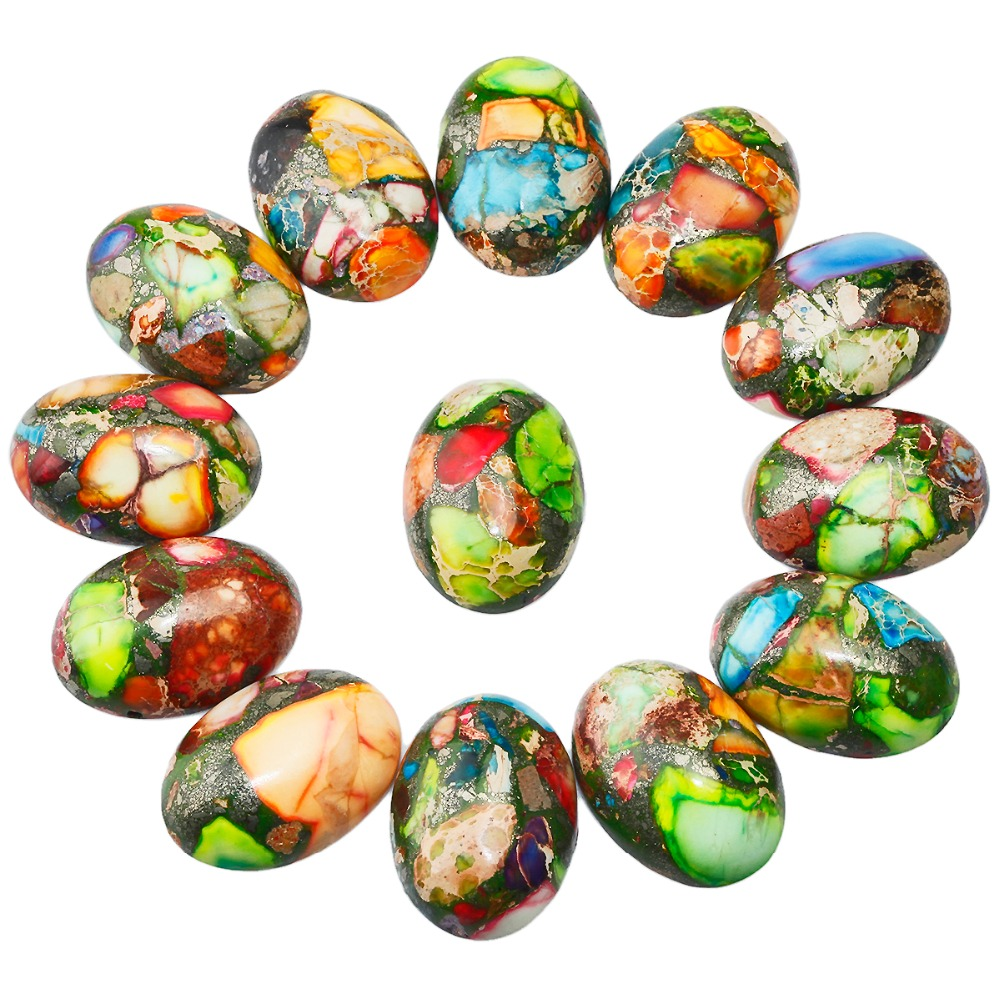 SUNYIK 1Lot (5Pc) Colorful Sea Sediment Jasper Oval Stone Cabochons Flatback Semi-precious CAB for Jewelry Making,18x25mm