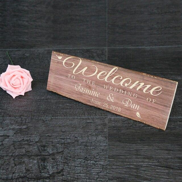 Bienvenue à notre mariage en bois signe bois signe personnalisé de mariage décoration