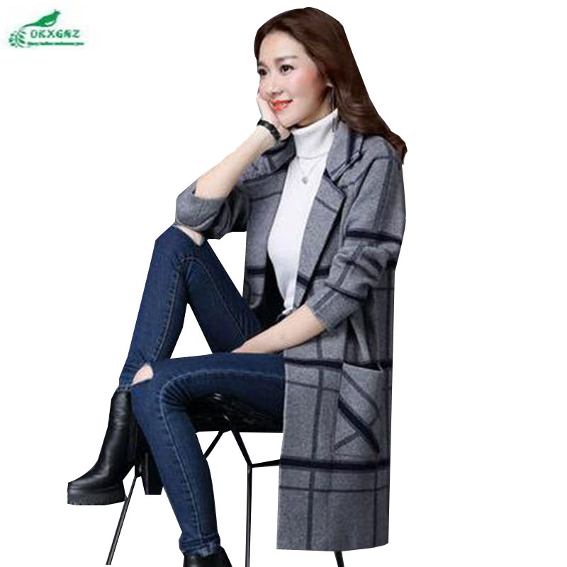 OKXGNZ Ladies Clothing 2017New Fashion Leisure Grid Big Yards loose Coat knitt Cardigan Medium long Thicken sweater coat QQ108 ...
