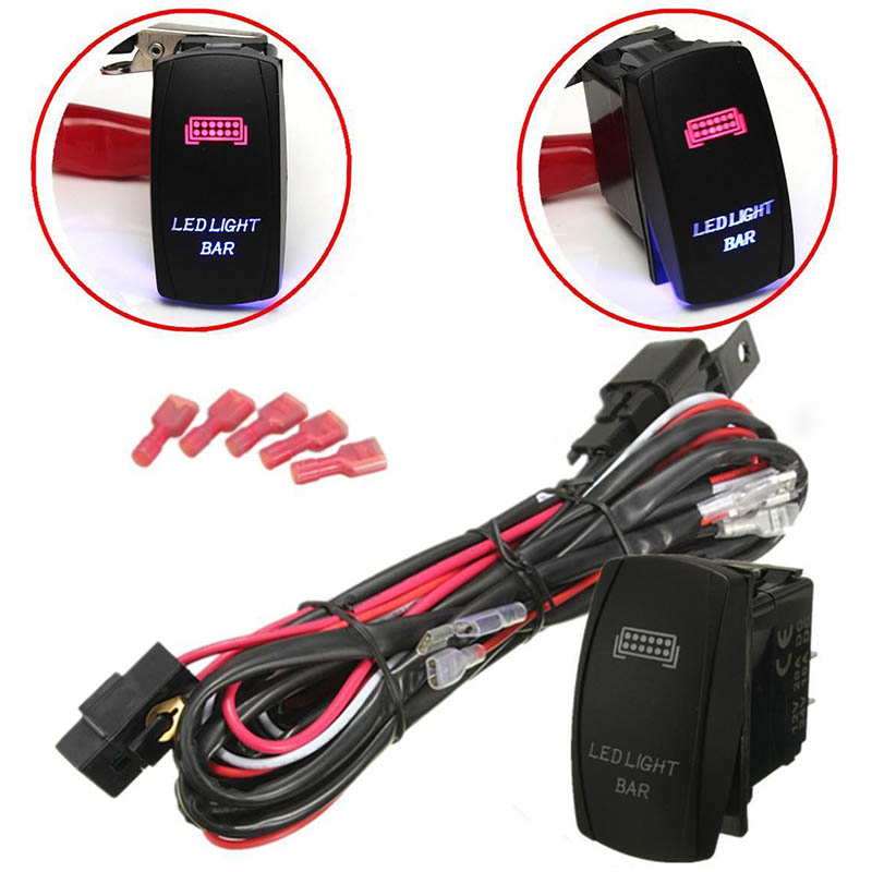 Aliexpress Com   Buy 12v Car Blue Red Led Light Bar On  Off Rocker Toggle Switch Wiring Harness