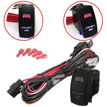 12V Car Blue Red LED Light Bar ON/OFF Rocker Toggle Switch Wiring Harness 40A Relay Fuse Auto Work Light Fog Ignition Switch