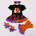 Halloween Newborn Girl Clothing 4pcs Sets Pumpkin Ruffles Romper Tutu Dress + Shoes + Leg warmers + Headband Kids Party Clothes