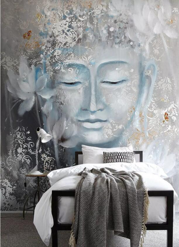 Custom Hand-painted Murals Wallpaper Nostalgic Buddha Buddha Lotus Porch Setting Wall Decoration