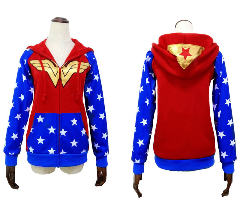 Hot Wonder Woman Diana Prince Hoodie Cosplay Costume Zip up Long Sleeve Hoodie Sweatshirt Women