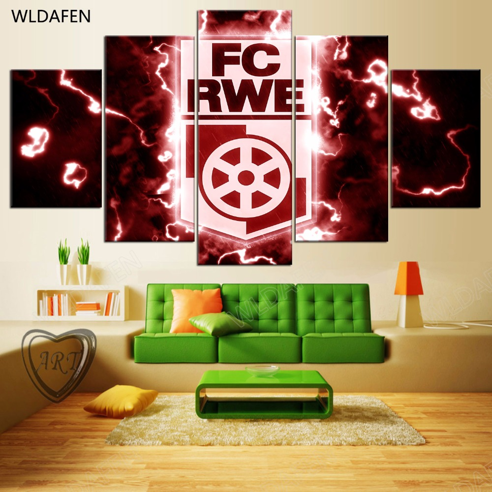 5 Pieces Sports Team Deco Fans Posters Oil Painting On Canvas Modern Home Pictures Prints Decor Living Room PH4-1734
