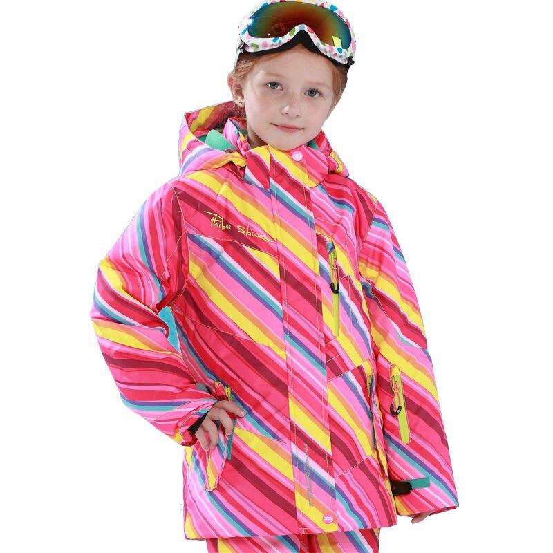 Phibee Girls Ski Jacket Windproof Waterproof Rainbow Kids Snowboard Jacket Snow  Jacket -30 Degree Free Shipping PH81608 phibee girls ski jacket windproof waterproof kids ski jacket 8015 free shipping