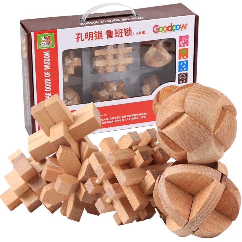 6PCS/set High quality beech fine wooden lu ban lock six-piece set children adult toys