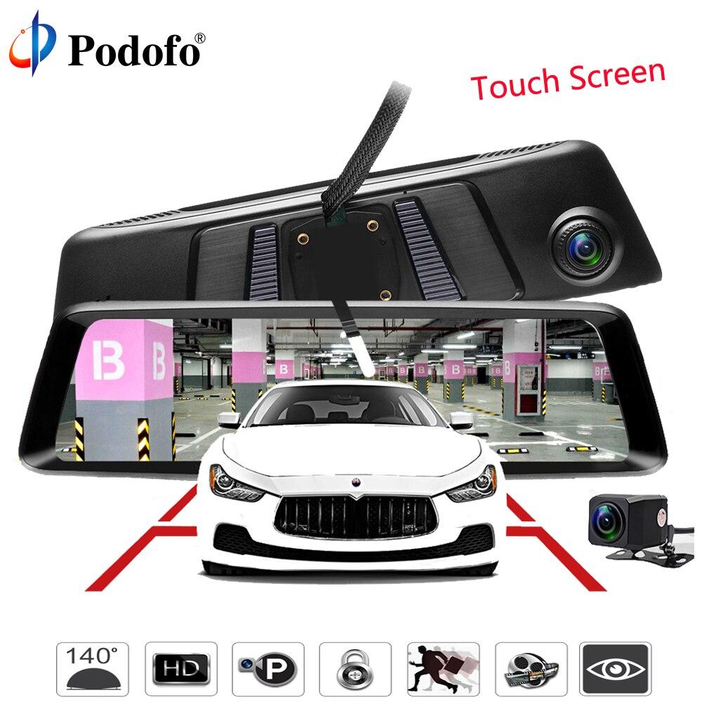 Podofo 10 Car DVR Dual Lens Car Camera FHD 1080P Video Recorder Streaming Media Rearview Mirror Night Vision With Backup Camera podofo dual backup camera