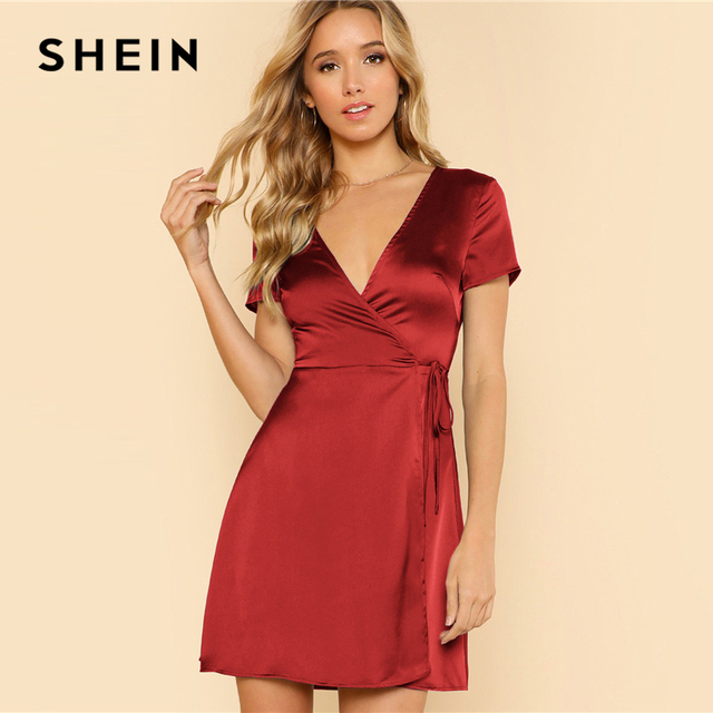 47ae406311 SHEIN Surplice Wrap Solid Dress Burgundy Deep V Neck Fit and Flare Belted  Dress Women Summer