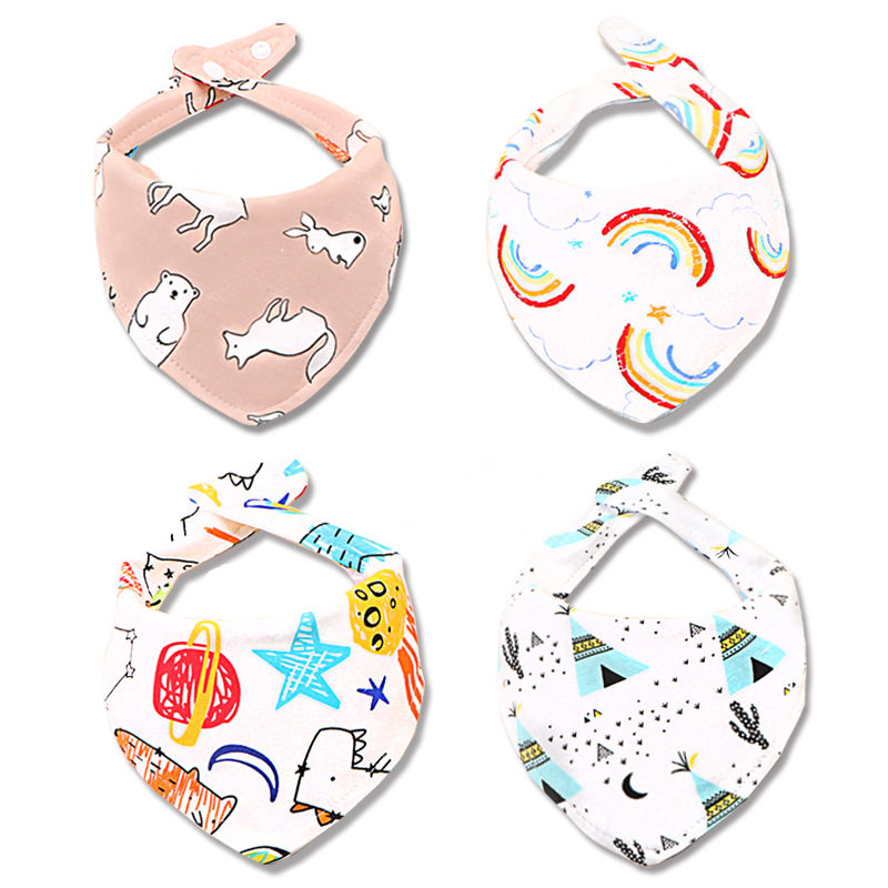 Baby Bibs Cartoon Saliva Towel Boys Girls Burp Cloths Triangle Cotton Bandana Newborn Fashion Scarf Accessories 2 Sides Use