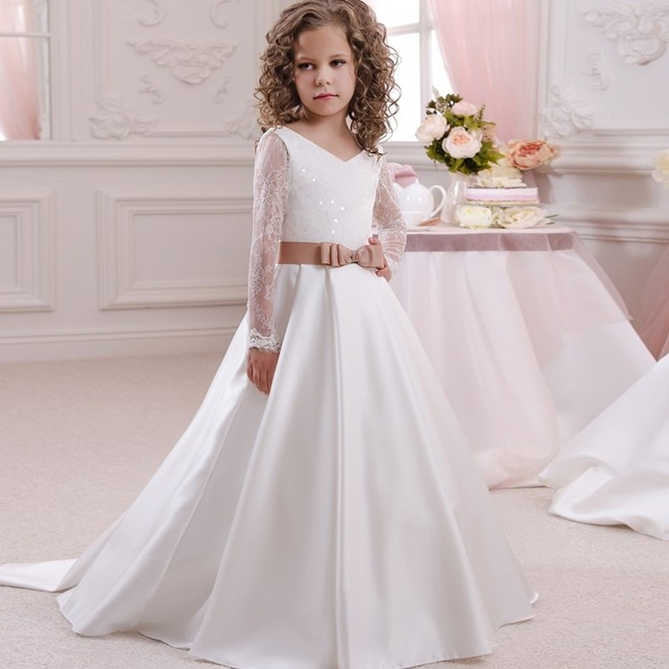 White Ivory 2019 A Line Flower Girls Dresses for Wedding Long Sleeve V Neck with Sash Girls Birthday Gown First Communion Dress 2018 spring 1pc women floral print v neck long lantern sleeve knee leng dress elegant mid waist streetwear a line dresses c335