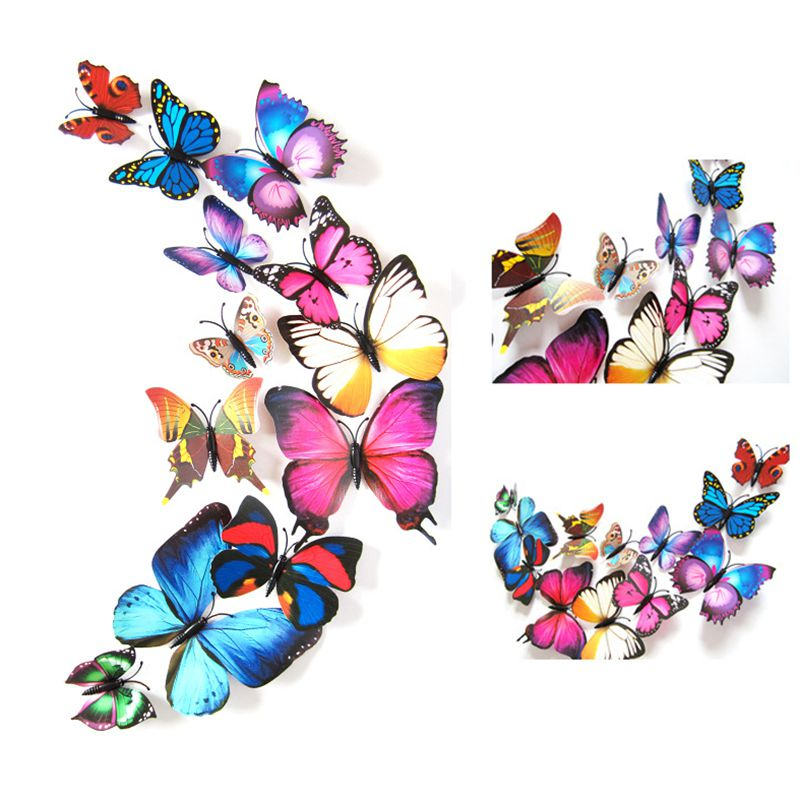 2018 12pcs a Lot 3D Butterfly Wall Stickers Factory Direct Simulation Butterfly Home Children Living Room Wedding Decor