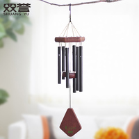 Classic Solid Wood Music Wind Chime European American Home Decoration Wall Hanging Girl Birthday Gift 18 Inch Metal Decorations