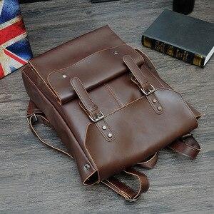 Image 3 - Новый Винтажный Мужской рюкзак на застежке в английском стиле, модные кожаные Ретро Рюкзаки Crazy Horse, мужская сумка, мужская сумка