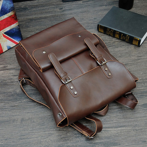 Image 3 - New Vintage Men Hasp Backpack England Style Fashion Retro Crazy Horse Leather Backpacks Mens Bag Mochila Male Bolsa Sac