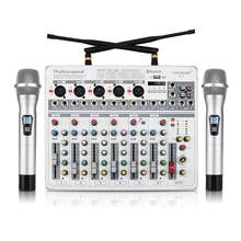 Coolmusic D7 7 Channel DJ Bluetooth Audio Sound Mixer 16 DSP with 2 UHF Microphone(China)
