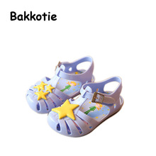 Bakkotie 2017 New Arrival Fashion Summer Baby Girl Sandal Blue Summer Jelly Shoes for Toddlers Kid Brand Breathable Stars Black