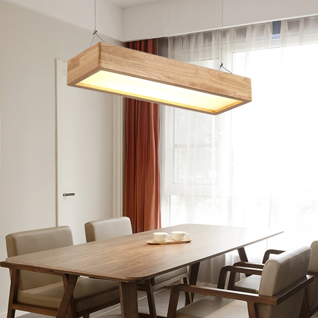 Japanese Chandelier Solid Wood Lamp Office Led Living Room Light Dining Table
