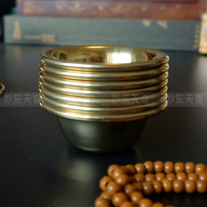 Buddha Brass Bowls, Copper Buddhist supplies cawan, Diameter 6.8 Ketinggian 2.9 Centimeter, 7 keping Per Set