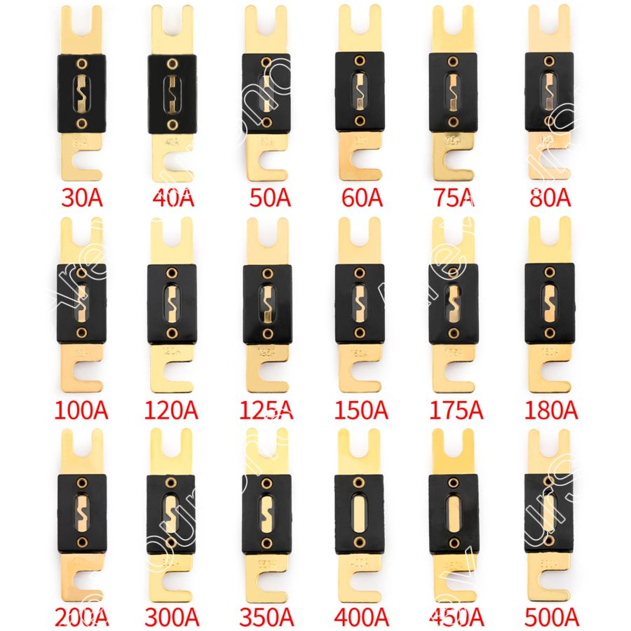 цены Areyourshop Fuse 30A-500A AMP ANL Type Gold Plated Blade Fuses For Auto Car Stereo Audio Wholesale 2PCS Fuses