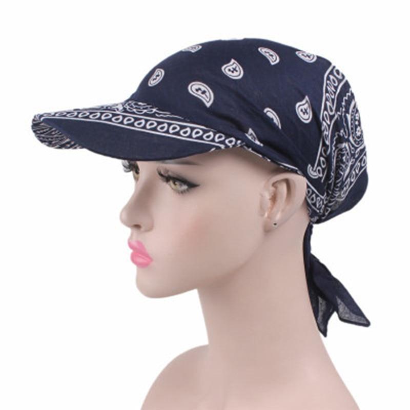 Women India Muslim Retro Floral Towel Cap Brim Turban Baseball Hat Wrap Summer Sun Hats For Women Straw Hat(China)