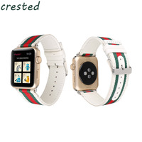 CRESTED Nylon With Leather Strap Band For Apple Watch 3 42mm 38mm Bracelet Watchband For Iwatch