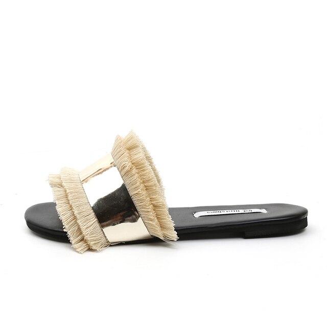 4e2b1e4e37b321 2019 summer shoes woman sliders flat with slippers metal bling bling Fur  Fringe Flip Flops Women