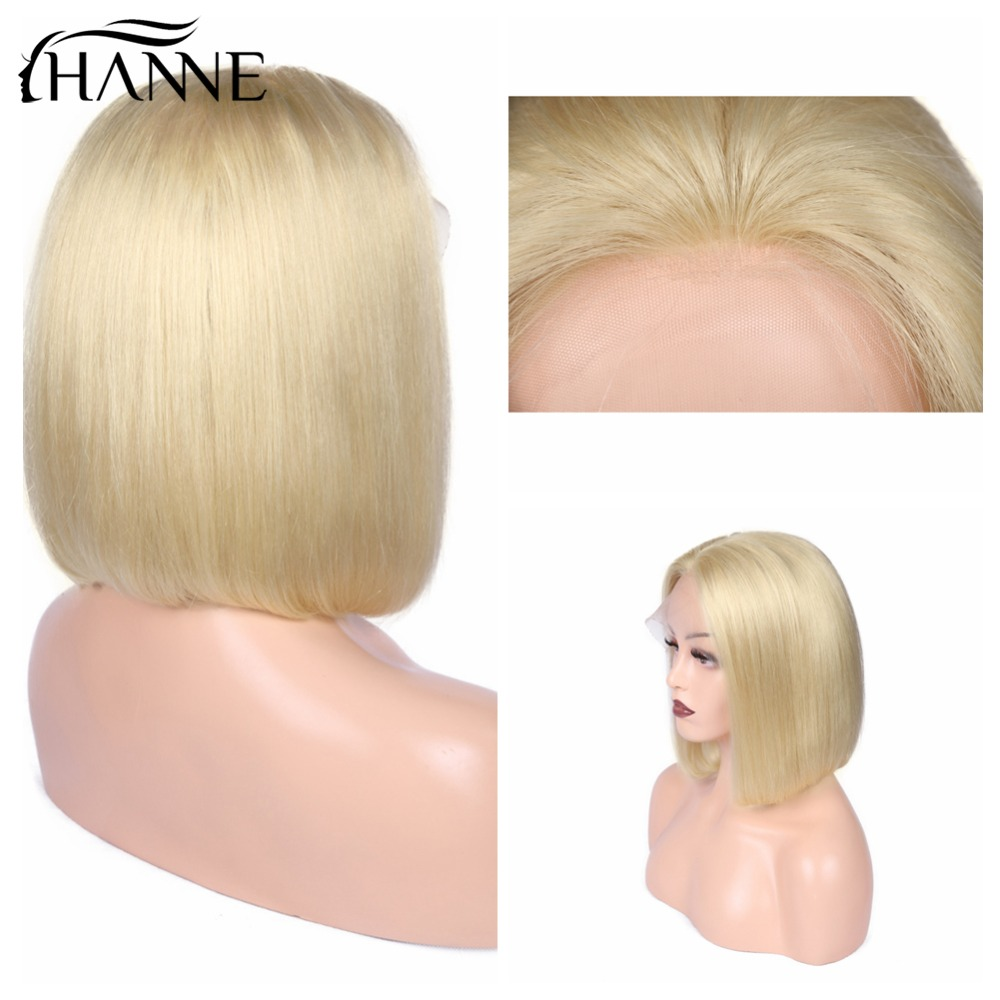 HANNE Hair Blonde Bob Wig 150% Density Brazilian Human Hair Short Straight 613# Lace Front Wigs Medium Size 8-14 Inch Lace Wig