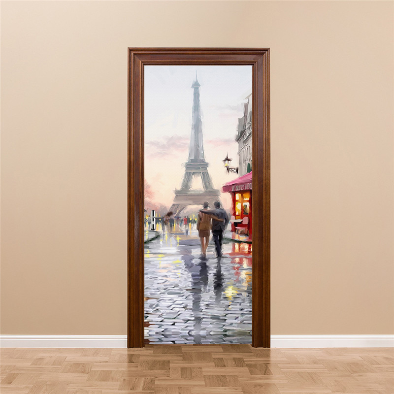 цена на Eiffel Tower Waterproof 3D Door Stickers Living Room Wall Paper PVC Self-adhesive DIY Mural Poster Wallpaper Home Decor Sticker