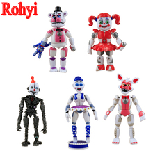 Rohyi Second-Edition 5pcs/set PVC Sister Five Nights At Freddys Action Figures Toys Foxy Freddy Fazbear Bear Assembled