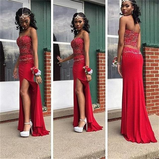 Graceful Red Satin Evening Gown Side Slit Sweetheart Mermaid Floor Length  Beading Two Piece Long Dresses Evening 8433d936fec5