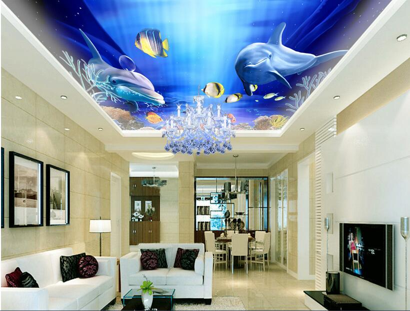 3d room wallpaper custom mural non-woven wall sticker 3 d sea world dolphins smile ceiling mural photo wallpaper for walls 3d