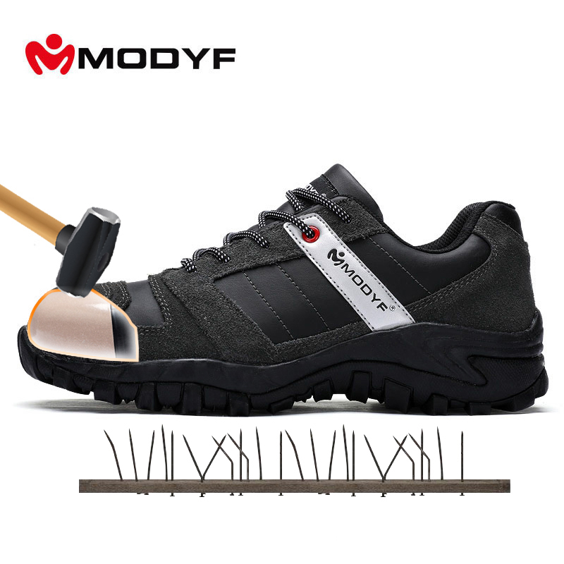 MODYF Men Steel Toe Cap Work Safety Shoe Genuine Leather Casual Anti-kick Footwear Outdoor Puncture Proof Sneaker