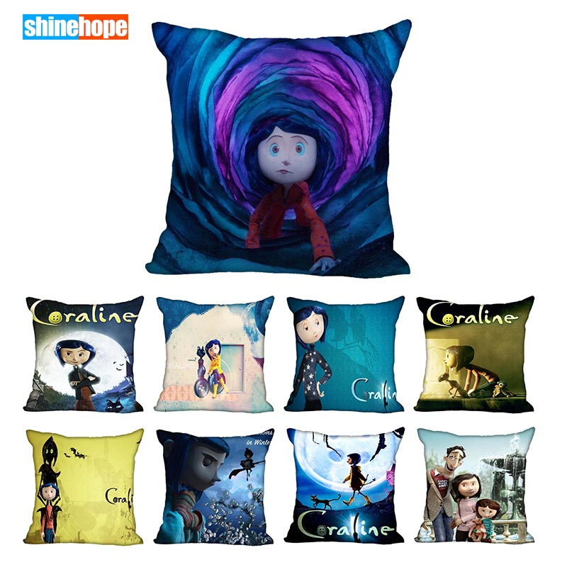45X45cm,40X40cm(one Sides) Pillow Case Modern Home Decorative Coraline Pillowcase For Living Room Pillow Cover