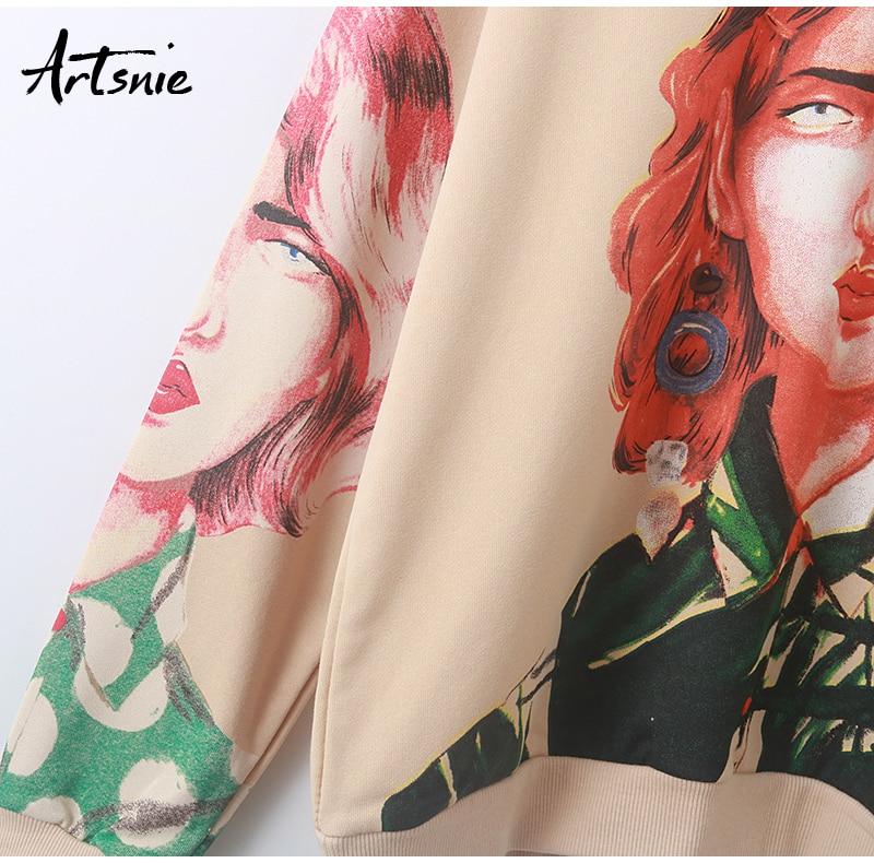 Artsnie streetwear character print women sweatshirt spring 19 o neck long sleeve pullover knitted oversized hoodie sweatshirts 13