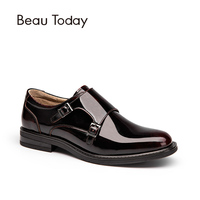 BeauToday Genuine Leather Monk Women Shoes Spring Autumn Buckle Round Toe Calfskin And Patent Leather Ladies