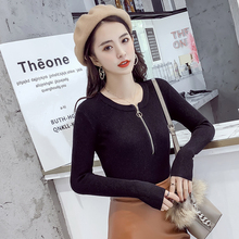chic zipper Sweater 2018 NEW Autumn winter Women pullover sexy female sweater o-neck Knitted Slim pullovers pull