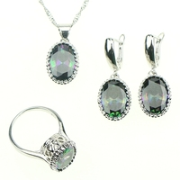 New 925 Sterling Silver Jewelry Mystic Rainbow Fire Created Topaz Jewelry Sets Women Earrings Pendant Necklace