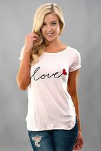 Womens Clothing T-shirt New Valentines Day Graphic T Shirts Love Print Clothes Short Sleeves Christmas Shirt Vintage Tops