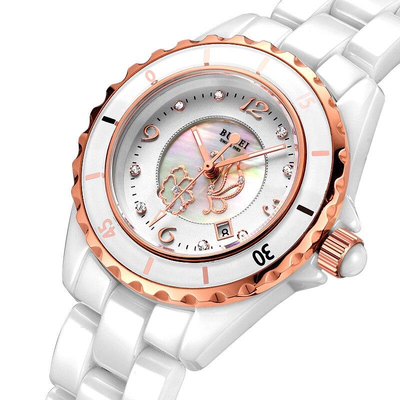 Burei роскошные дамы сапфировое стекло керамическая группа кварцевые часы водонепроницаемый butterfly наручные часы с премиями пакет 18001