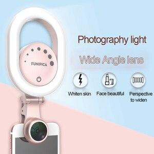 2 в 1 кольцевой светильник для смартфона, светильник для селфи, широкоугольный Макро-светильник для камеры телефона, макро-объектив 15X, 4K, ком...