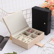 Fashion PU Leather Storage Box Makeup Organizer Large Capacity Cosmetics Container Multifunctional Ring Bracelet Gift Casket