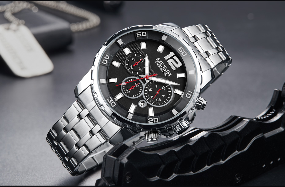 Topdudes.com - MEGIR Luxury Stainless Steel Chronograph Business Quartz Watch