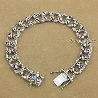 14 длины 925 серебро ручной работы черепа мужские Байкер панк браслет 9N020