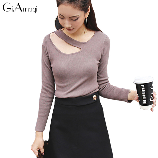 2016 Autumn Women's Sweater Halter V neck Knitted Sweater Hollow Out Pullover Stripes Knitwear Jumper Soft Elastic Sweaters