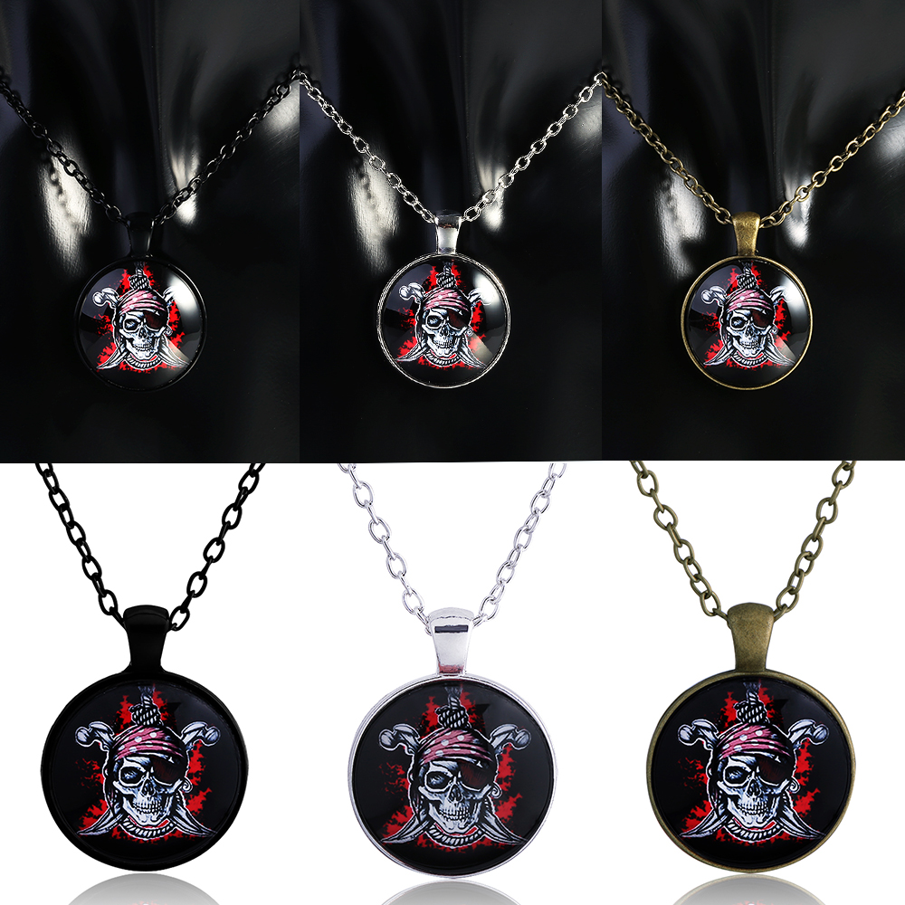 QIYIGE Caribbean Necklace Retro Style Pendants Skull Men Class Photo Death For Movie Fans Jewelry Gifts