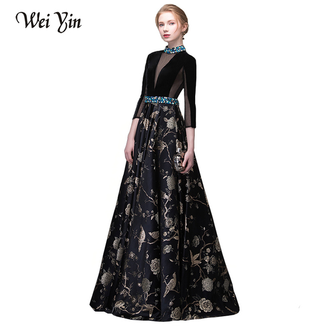 WEIYIN New Bride Vintage Black High-end Evening Dresses Long Sleeved Velour  with Satin Luxury Crystal Prom Party Gown Custom 6aff831d9ae4
