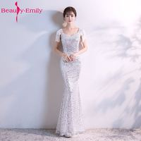 Beauty Emily Silver Long Evening Dresses 2017 Mermaid Sequined V Neck Sleeveless Formal Party Prom Dresses